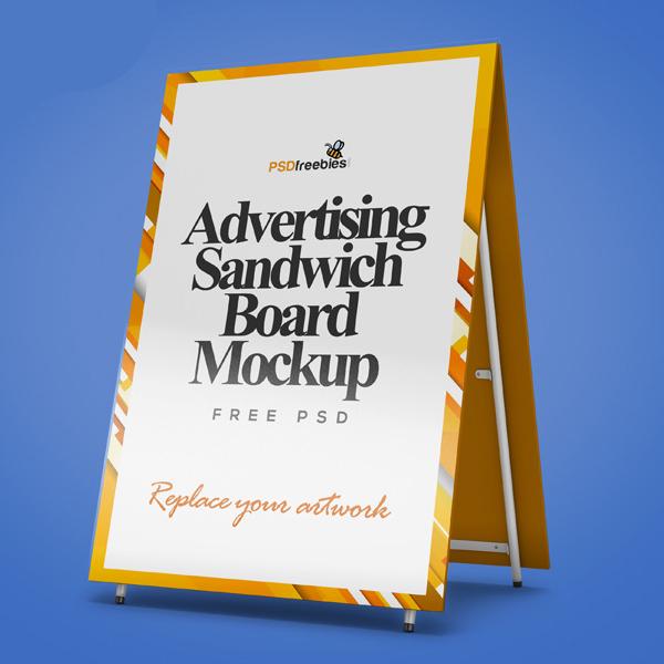 Free Advertising Sandwich Board Mockup PSD