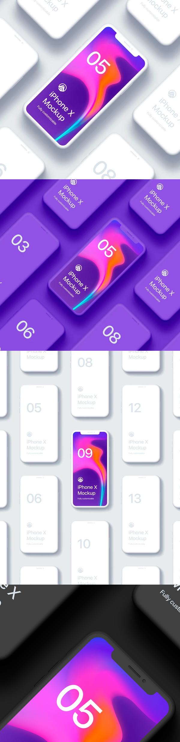 Free PSD iPhone X Clay Isometric Mockup