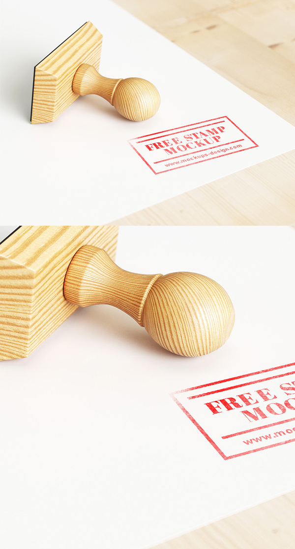 Free Realistic Wood Stamp Mockup PSD