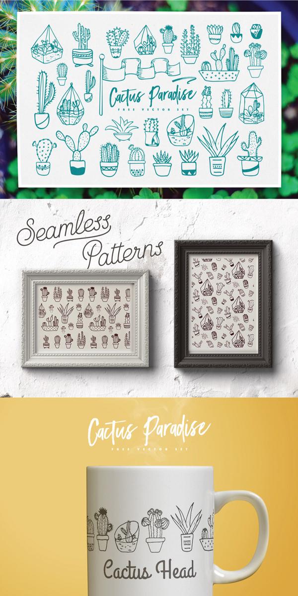 Free Cactus Paradise Vector Set