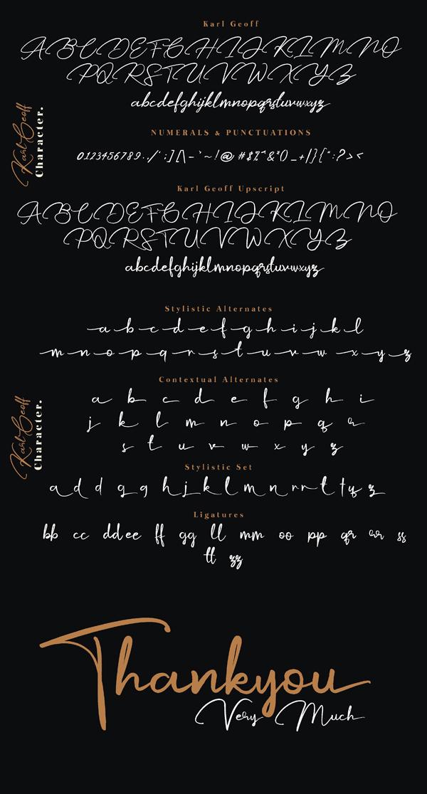 Karl Geoff Handwritten Script Font Letters