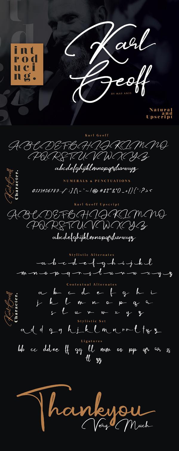 Karl Geoff Free Handwritten Script Font