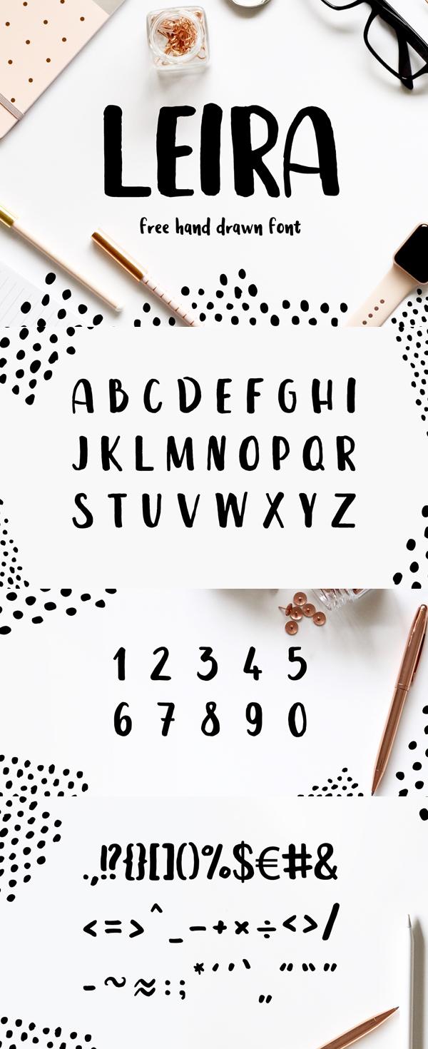 Leira Free Hand Drawn Brush Script Font