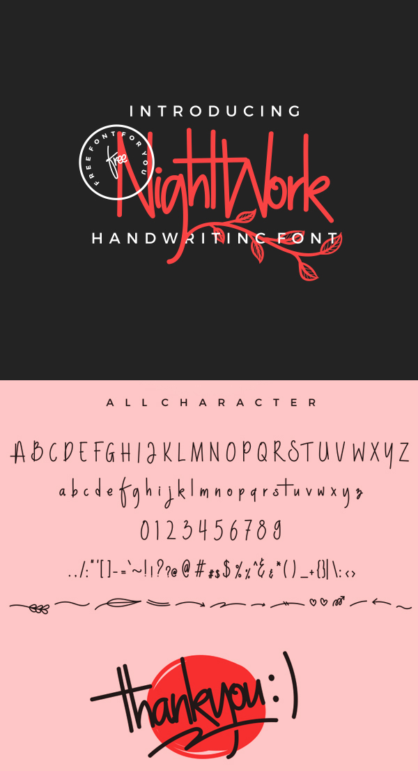NightWork Free Script Font