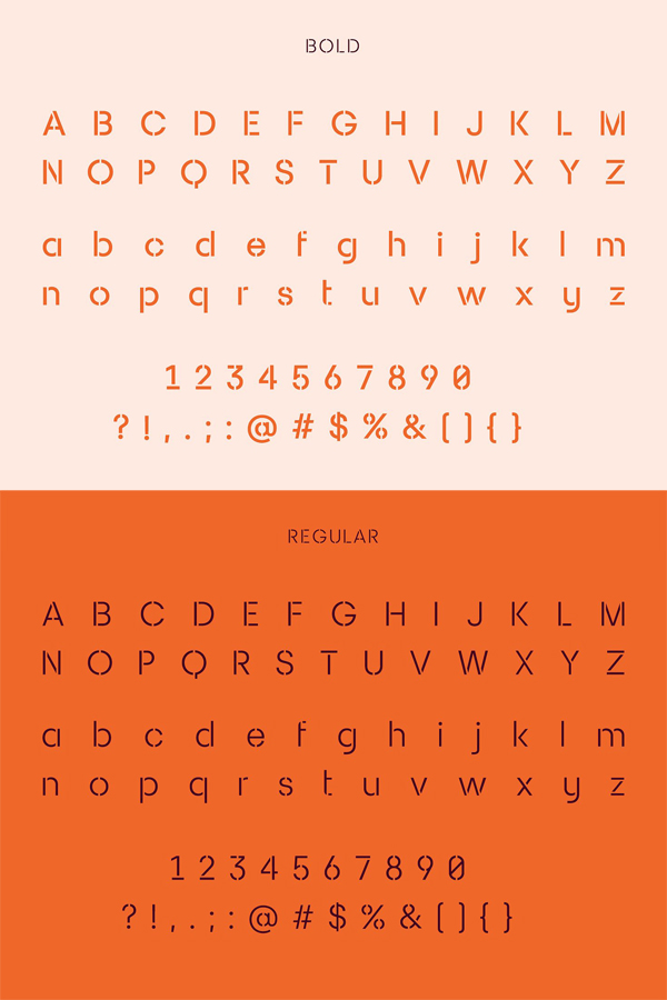 Sukima Stencil Font Letters