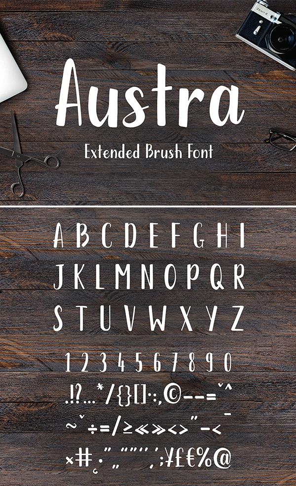 Austra Extended Brush Font