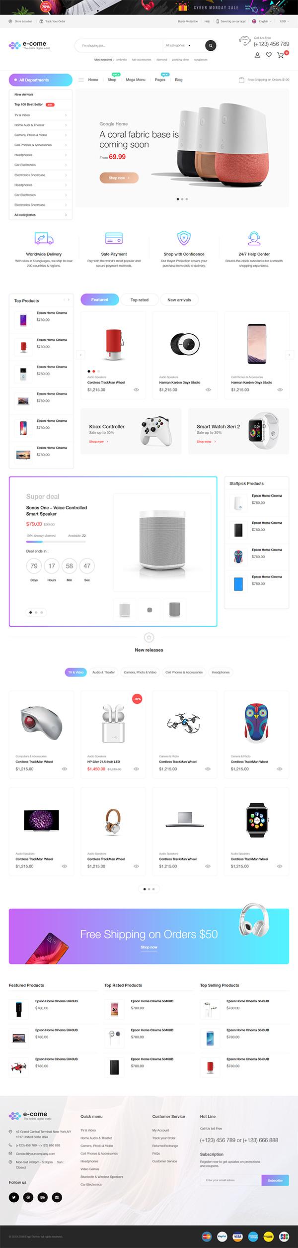 E-come | Multi-Purpose HTML Template for Electronics Store