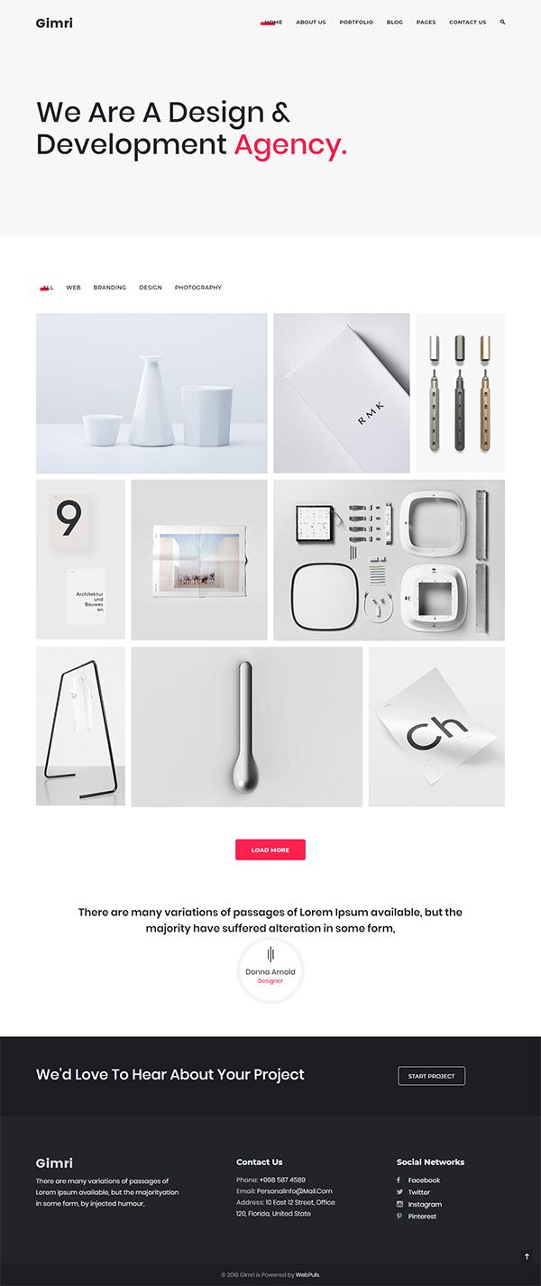Gimri - Minimal Portfolio Template