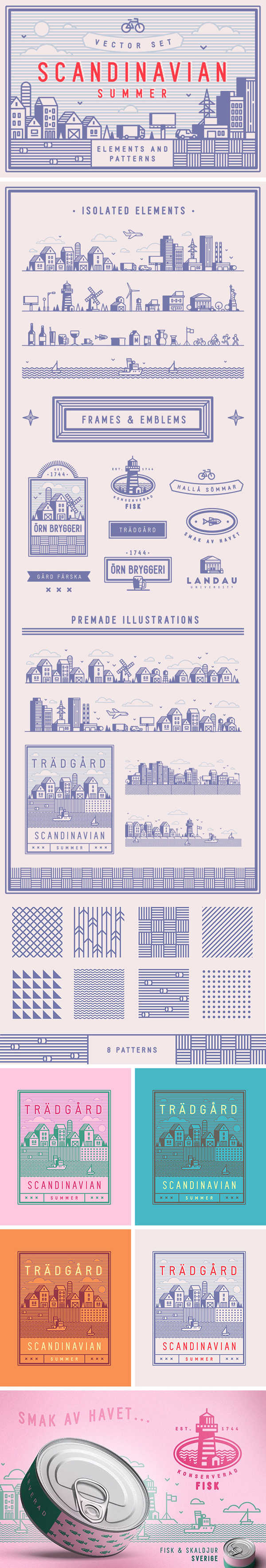 Free Scandinavian Summer Vector Set