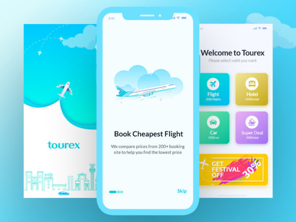 Tourex: Flight booking app design template