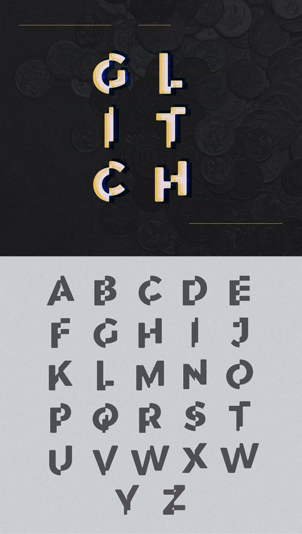 Corporate Glitch Font Letters