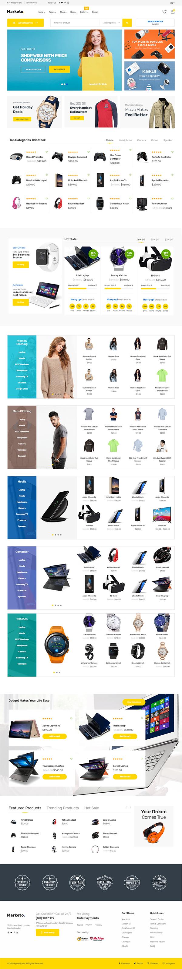 Marketo – ECommerce & Multivendor Woocommerce WordPress Theme