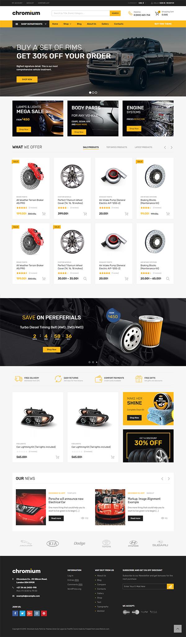 Chromium – Auto Parts Shop WordPress WooCommerce Theme