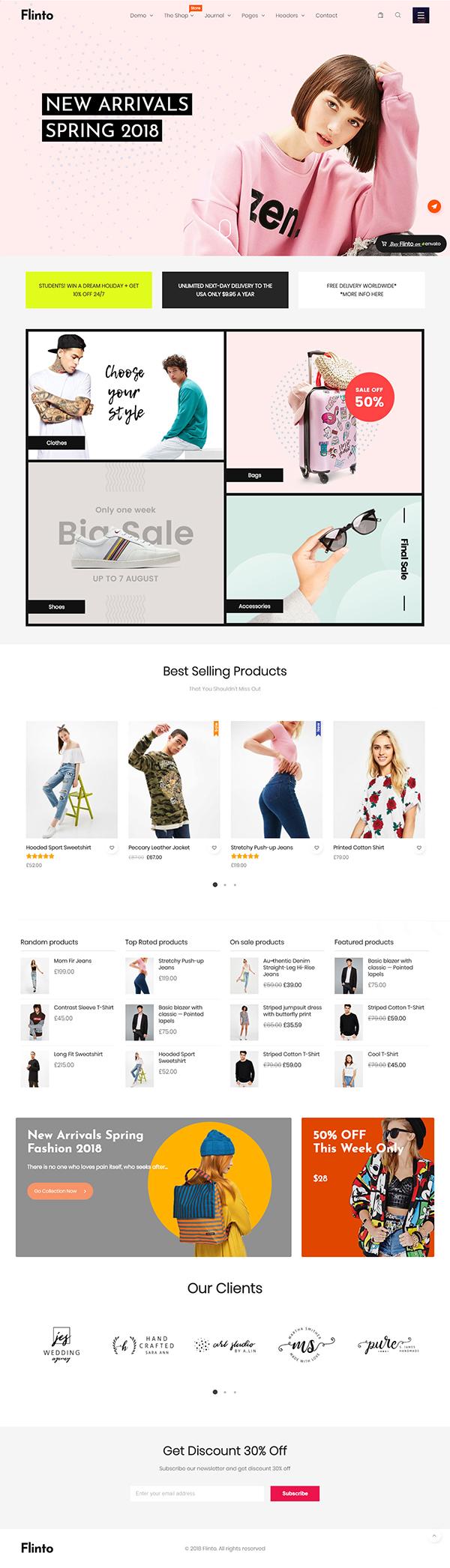 Flinto – Modern and Minimal eCommerce WordPress Theme