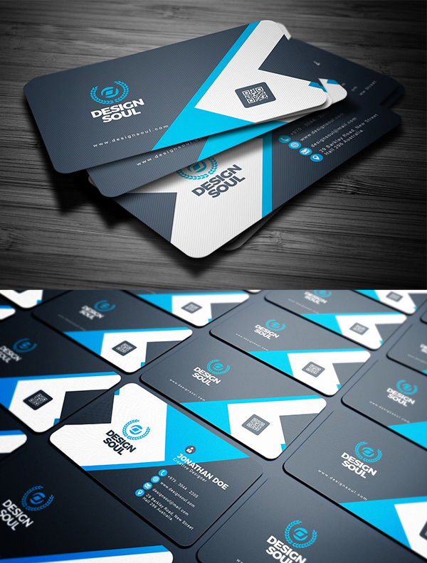 Blue & Black Business Card