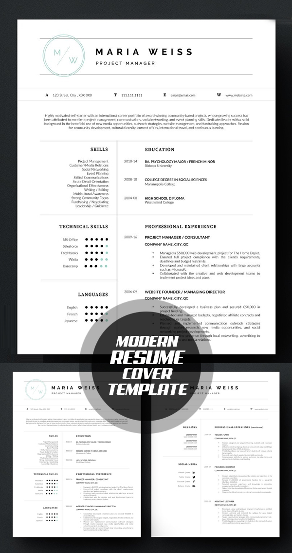 26 Professional Resume Templates With Cover Letters IDevie