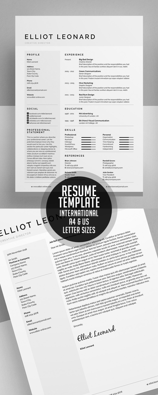 Resume Template - International A4 & US Letter sizes