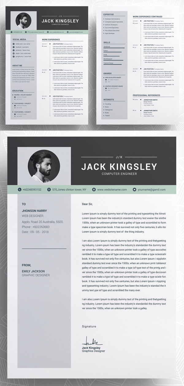26 Professional Resume Templates with Cover Letters - iDevie