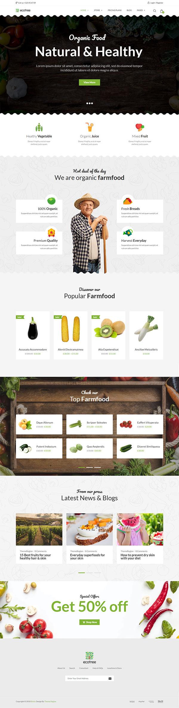 Ecotree – Organic Food WordPress Theme