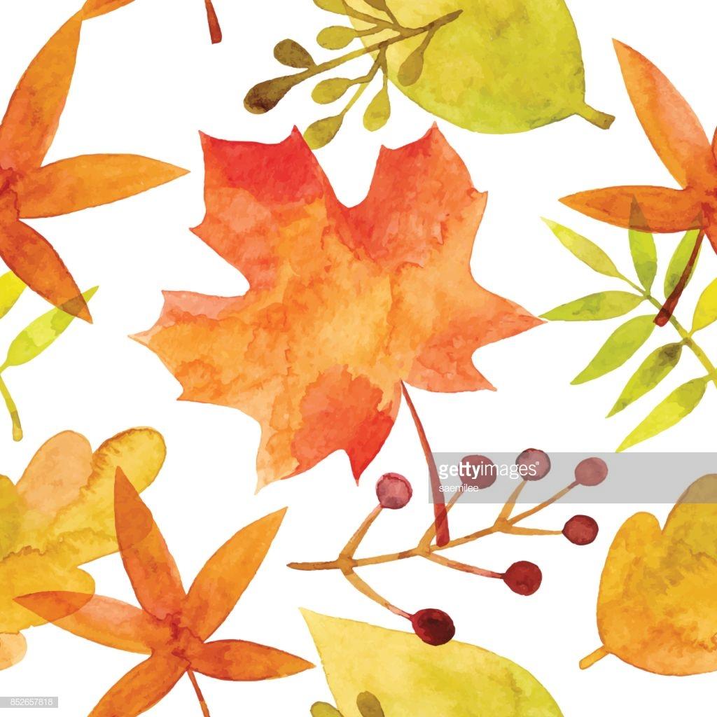 autumn leaves print watercolor
