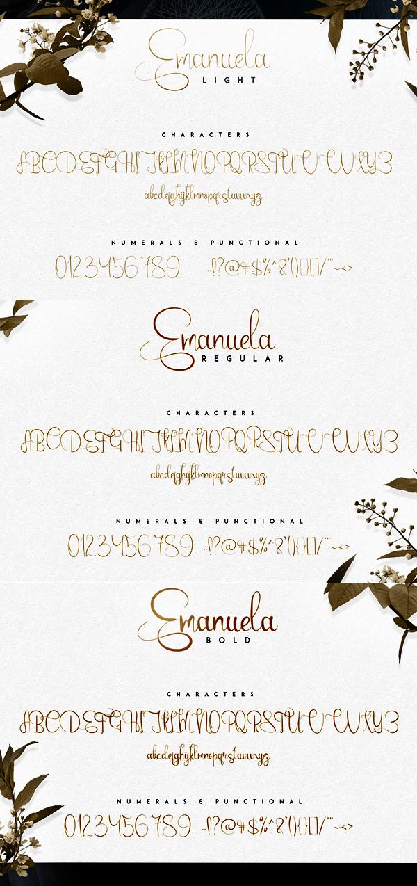 Emanuela Script fonts and letters
