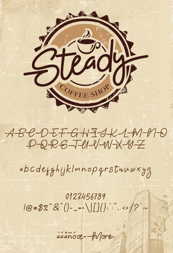 Gabuek Script fonts and letters