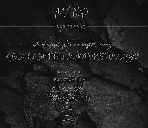 Mind Script Font Letters