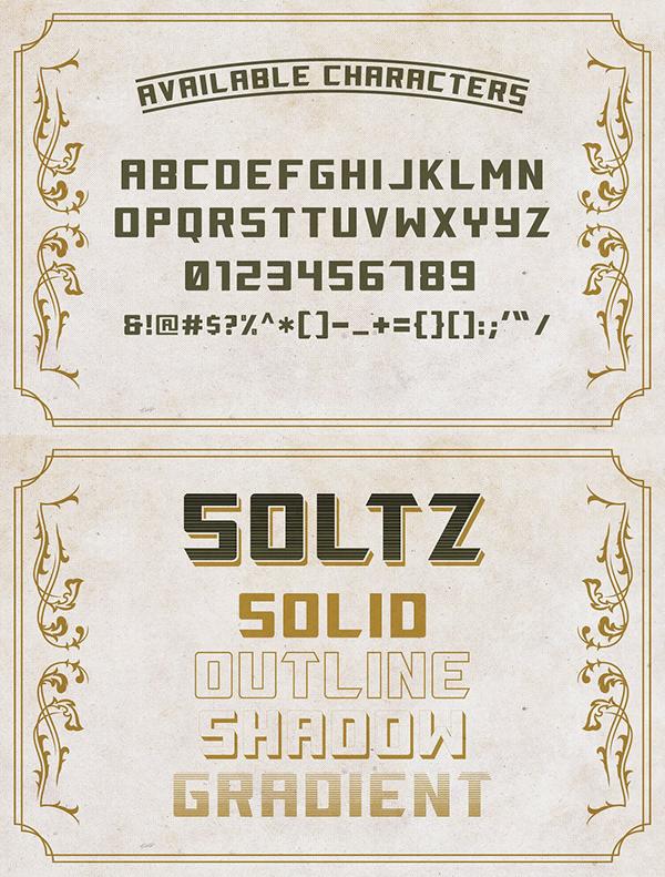 Soltz Vintage fonts and letters