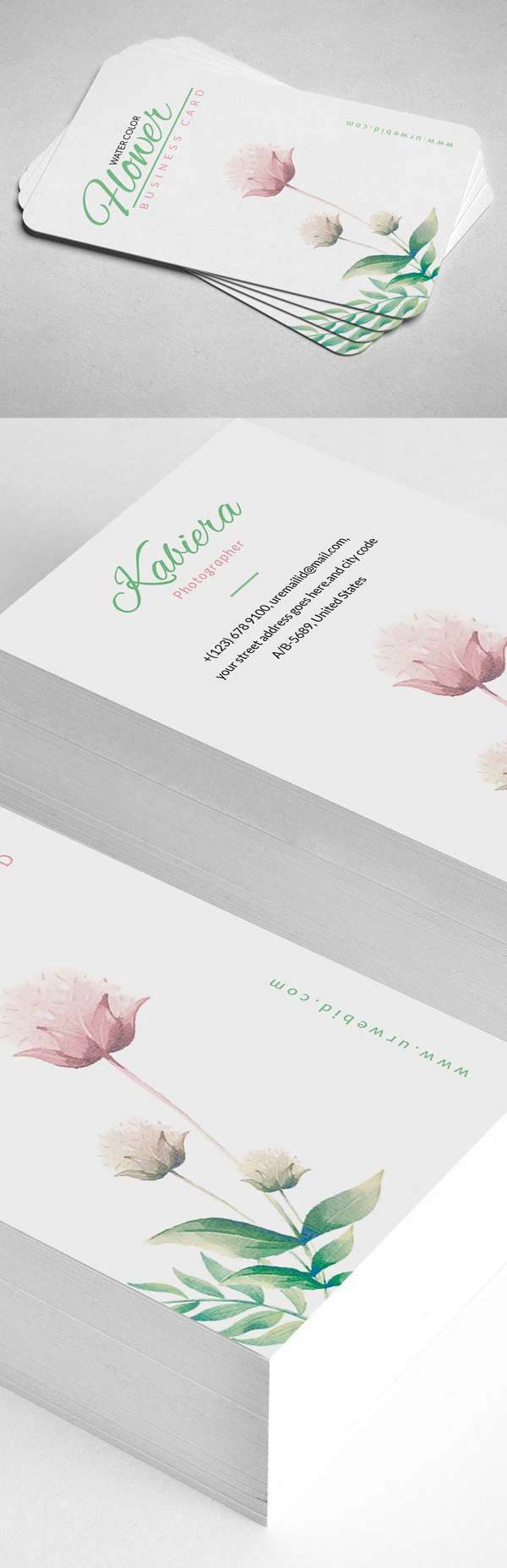 Clean Floral Business Card Template
