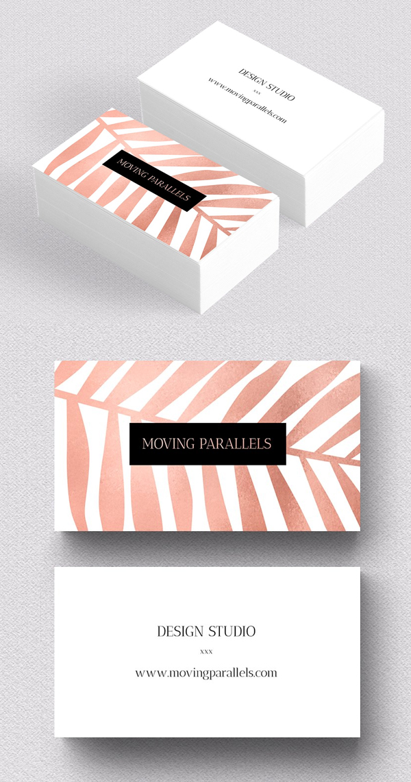 Rose Gold Palm Foil Business Card