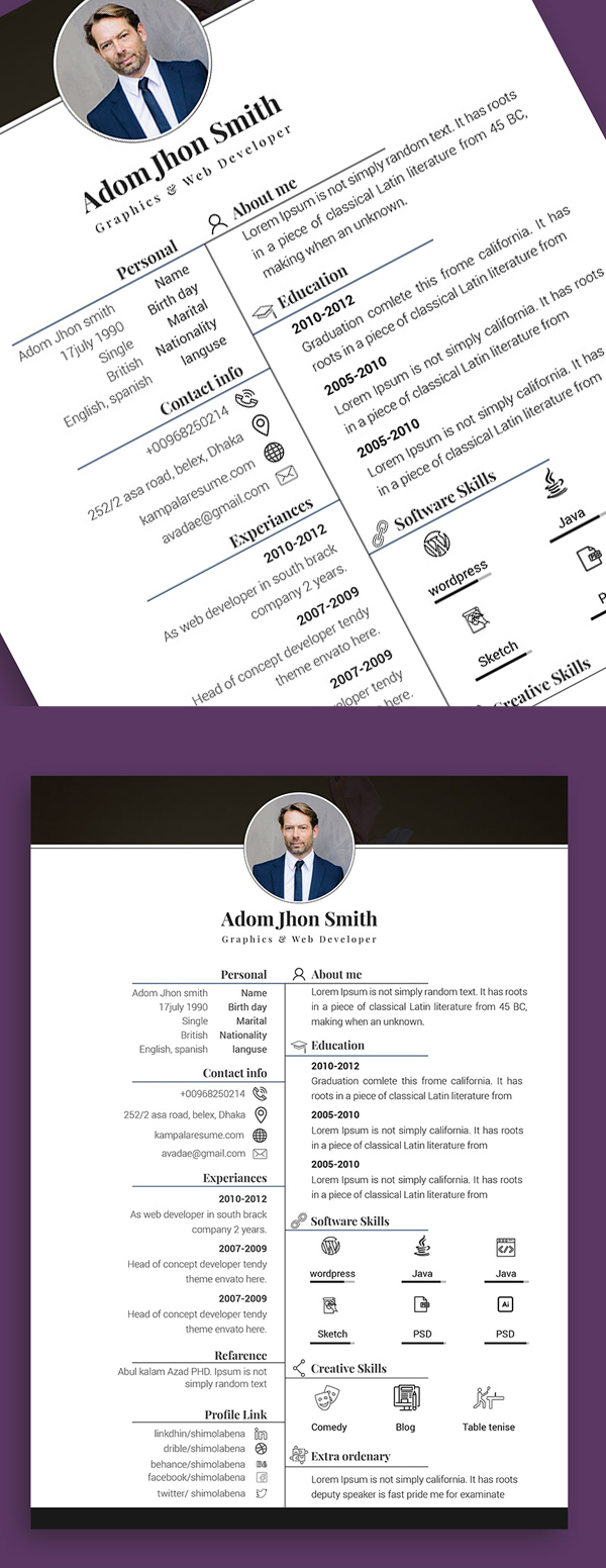 25 Fresh Free Professional Resume Templates - 14
