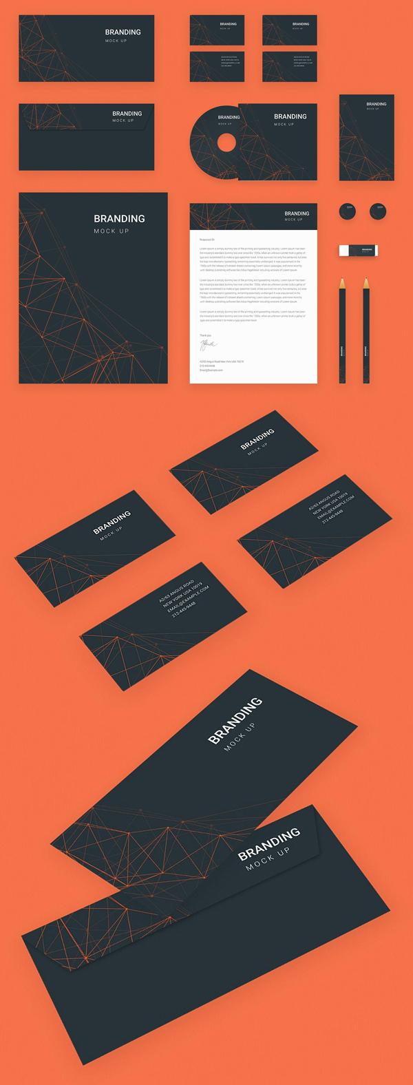 Brand Identity Set Orange Tech