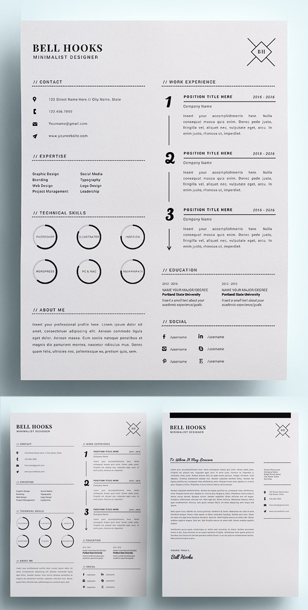 Minimal Designer Resume Template / CV