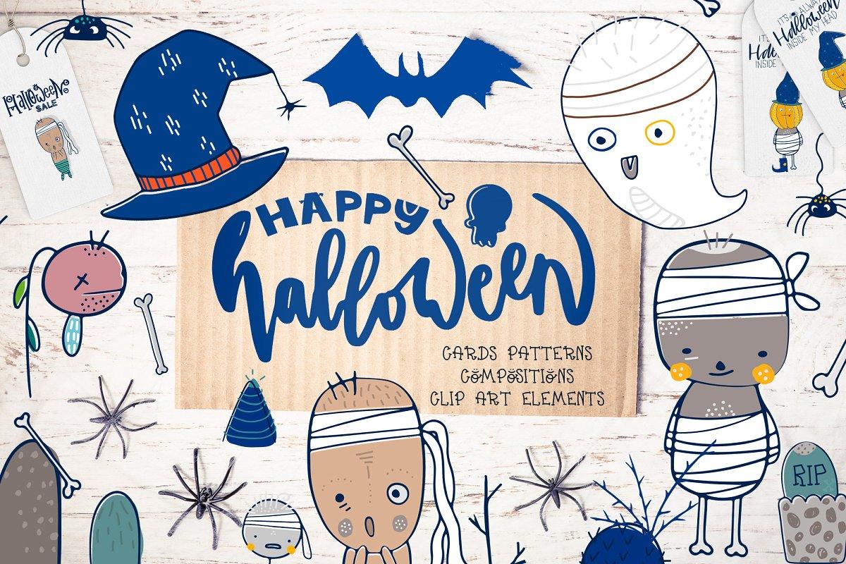 halloween design elements card images