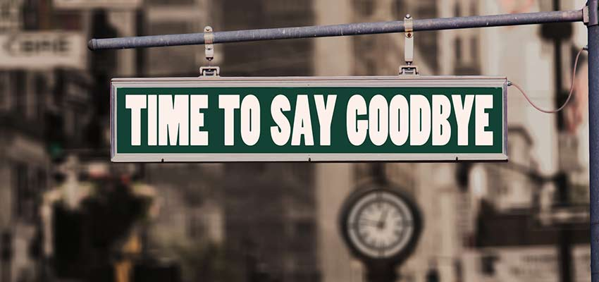 "A street sign that reads, ""Time To Say Goodbye""."