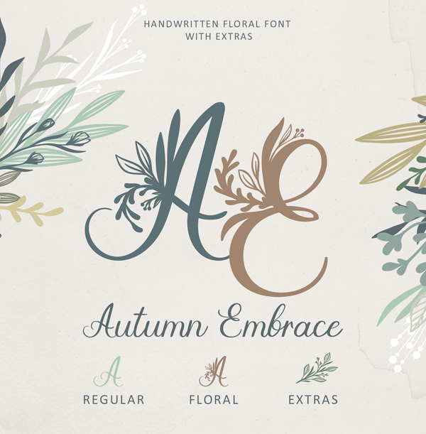 Autumn Embrace Floral Free Font + EXTRAS