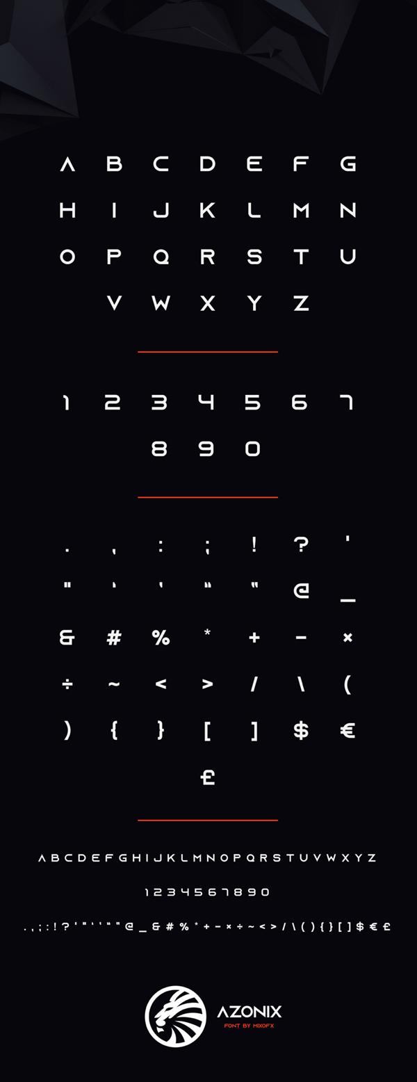 Azonix Modern Sans-serif Font Letters
