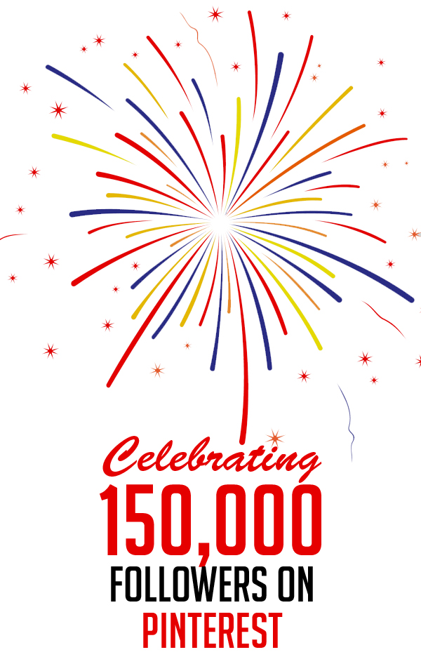 Celebrating 150,000 Pinterest on followers