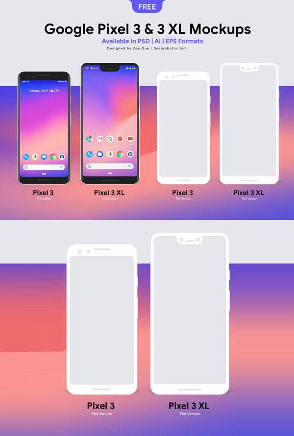 Free Google Pixel 3 & Pixel 3 XL Mockup PSD