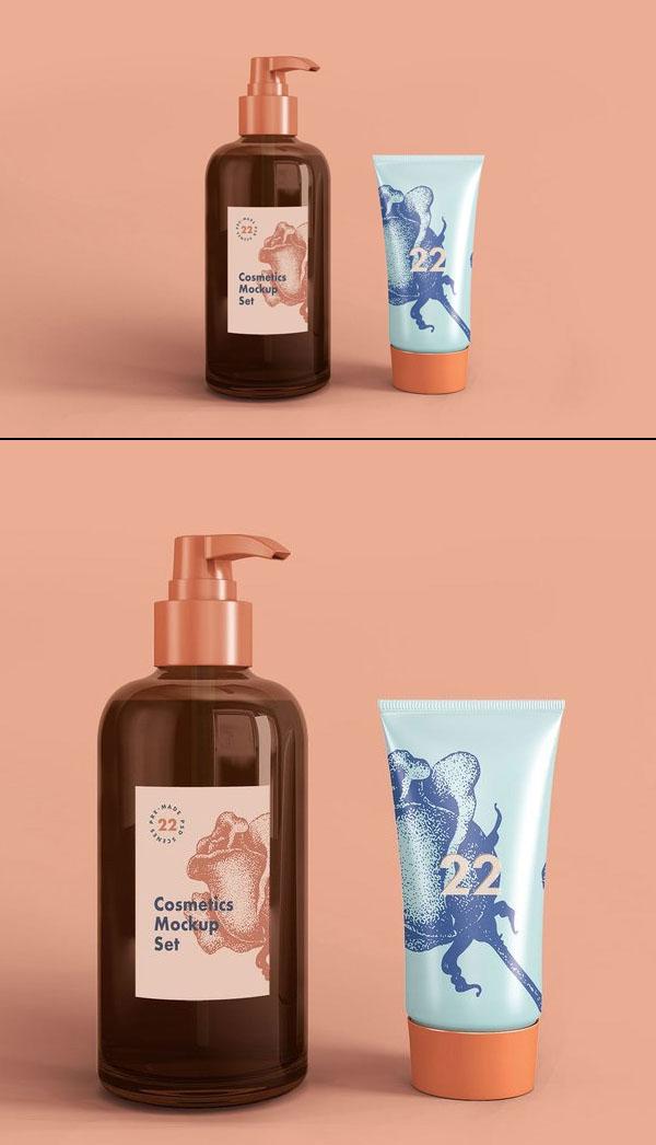 Free Soap Dispenser & Cream Tube Cosmetic Mockup