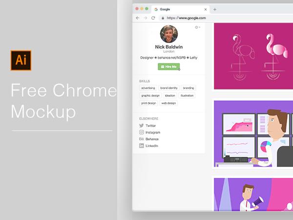 Free Chrome Mockup 2018 - Illustrator