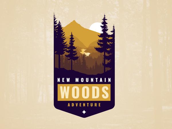 New Mountain Woods Adventure Vintage Logo Design by Dimitar Dzhenkov