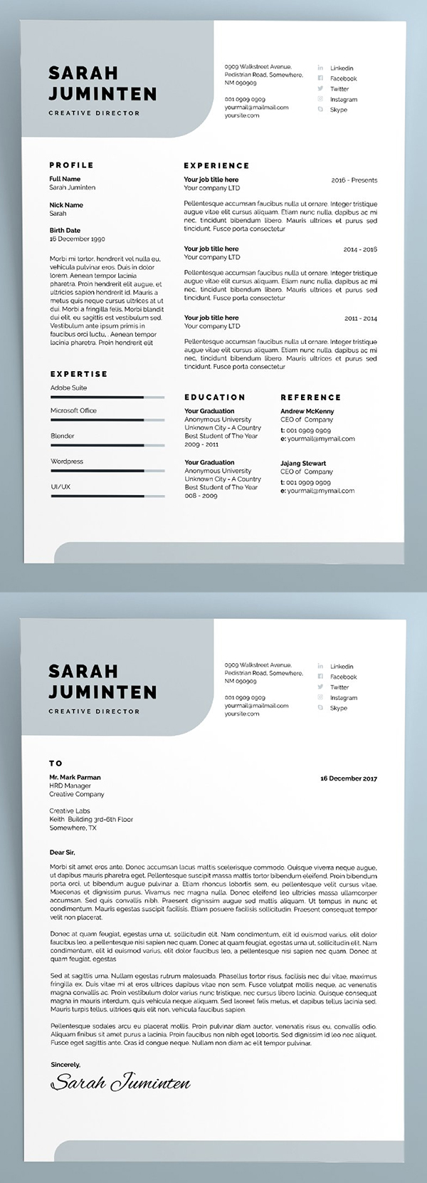 27 simple  u0026 clean cv    resume templates with cover letters