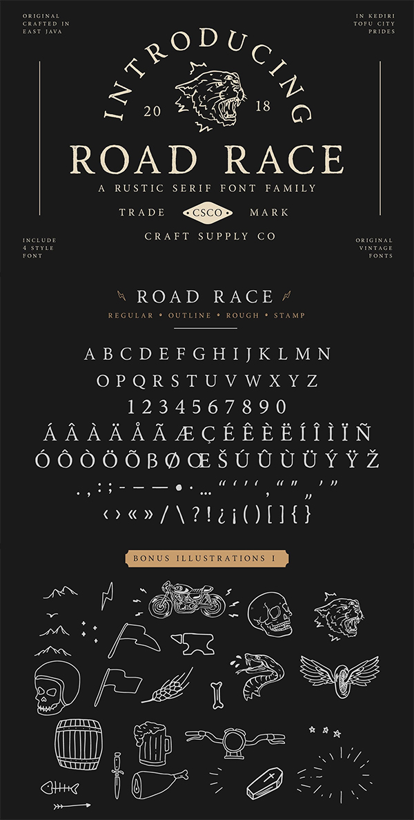 Road Race Font Family + Extras