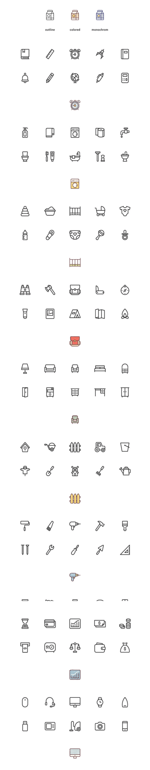 150 vector icons preview