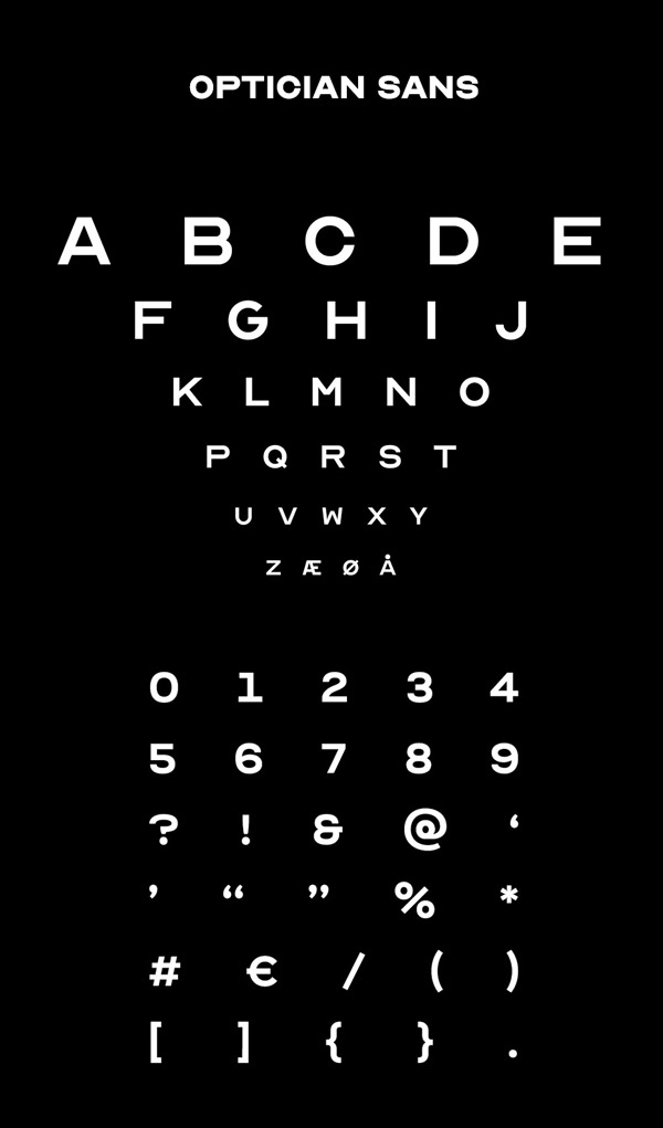 OPTICIAN SANS Font and Letters