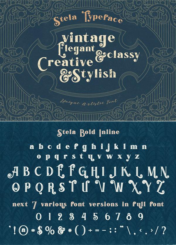 Stela Bold Inline Font Letters
