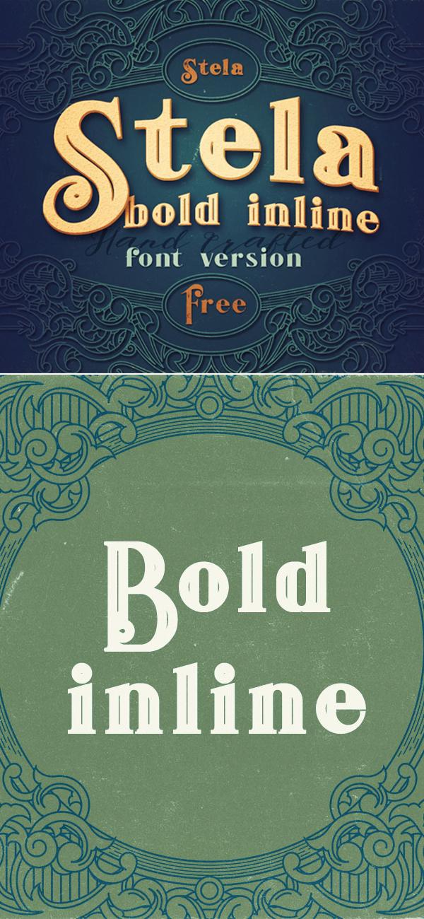 Stela Bold Inline Free Font
