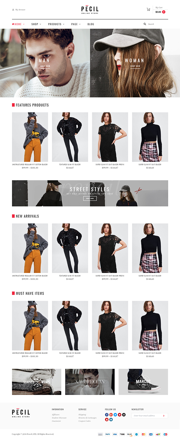Pecil - Awesome Fashion WooCommerce Theme