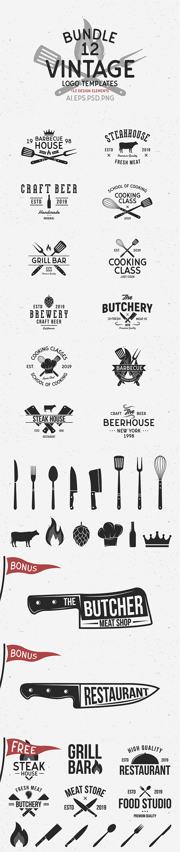 12 Vintage Logo Templates and 6 Free logos